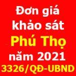 Đơn giá khảo sát tỉnh Phú Thọ năm 2021