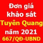 Đơn giá khảo sát tỉnh Tuyên Quang năm 2021