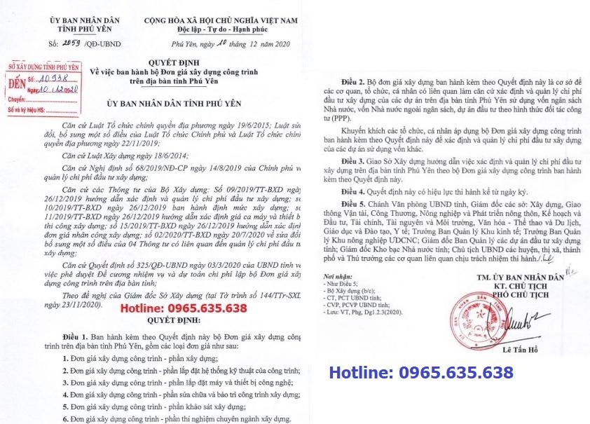 Hướng dẫn lập dự toán tỉnh Phú Yên