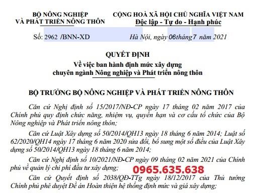 Định mức thủy lợi năm 2021 Quyết định 2962/BNN-XD