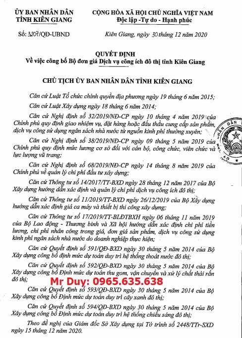 đơn giá công ích đô thị tỉnh Kiên Giang
