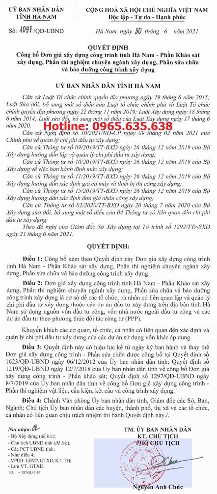 Đơn giá khảo sát tỉnh Hà Nam Quyết định 1097/QĐ-UBND