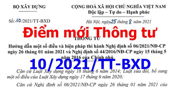 Điểm mới Thông tư 10/2021/TT-BXD