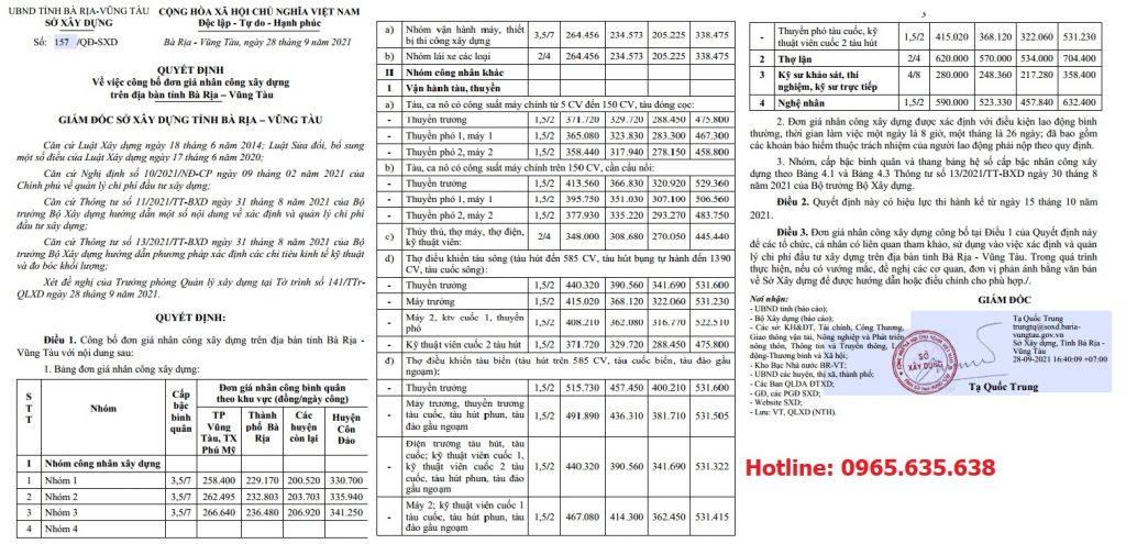 Đơn giá nhân công xây dựng tỉnh Bà Rịa Vũng Tàu năm 2021