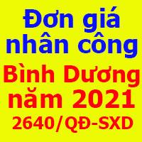 Đơn giá nhân công tỉnh Bình Dương năm 2021 Quyết định 2640/QĐ-SXD