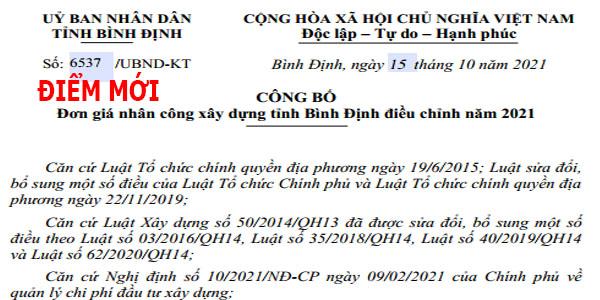 Công văn 6537/UBND-KT nhân công xây dựng tỉnh Bình Định năm 2021