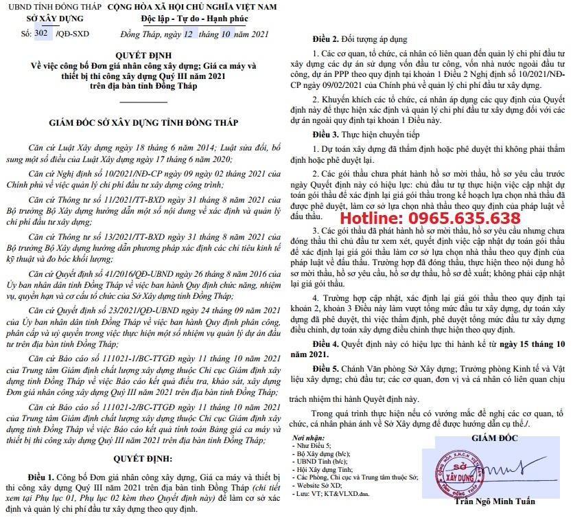Đơn giá nhân công tỉnh Đồng Tháp Quyết định 302/QĐ-SXD