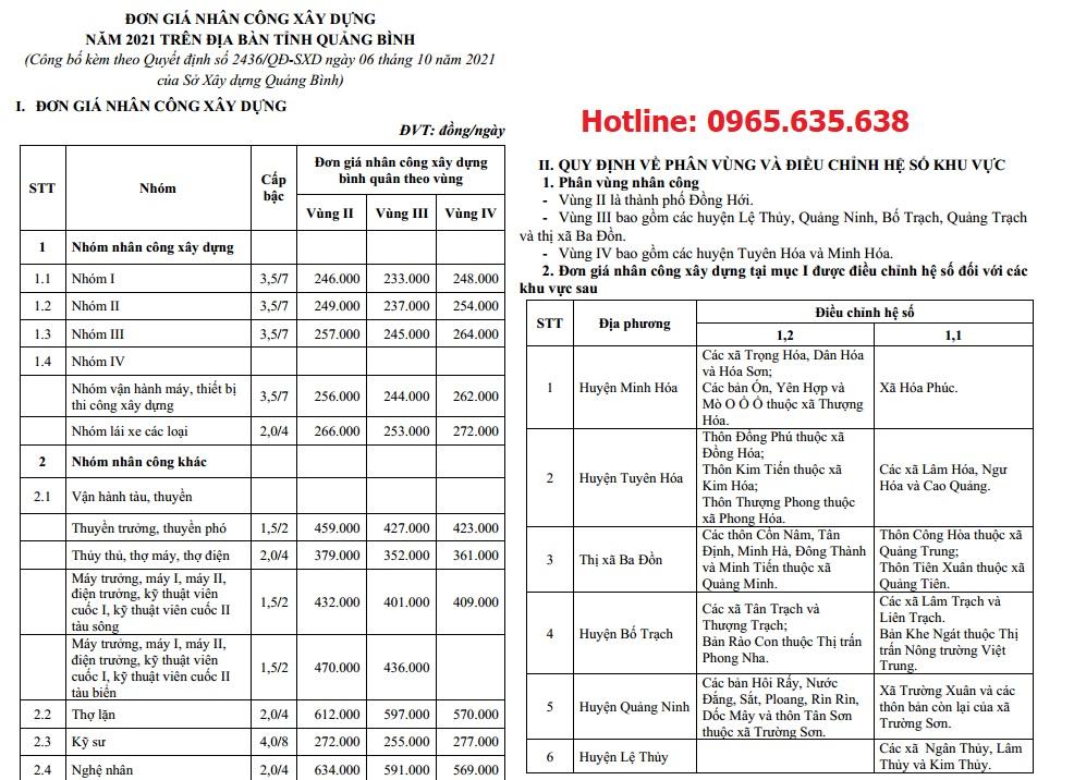 Đơn giá nhân công tỉnh Quảng Bình năm 2021