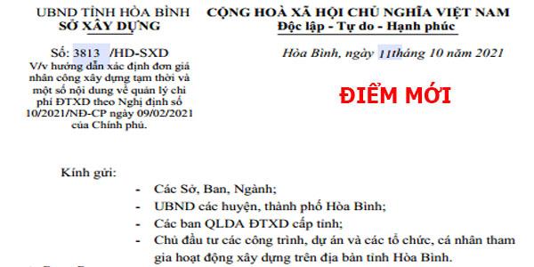 Hướng dẫn số 3813/HD-SXD đơn giá nhân công xây dựng tỉnh Hòa Bình