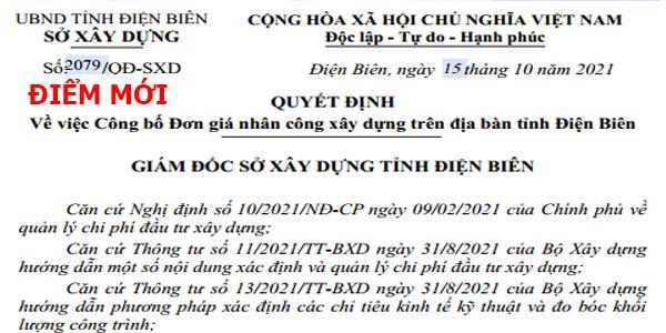Quyết định 2079/QĐ-SXD đơn giá nhân công xây dựng tỉnh Điện Biên