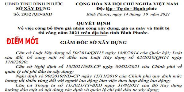 Quyết định số 2932/QĐ-SXD đơn giá nhân công xây dựng tỉnh Bình Phước